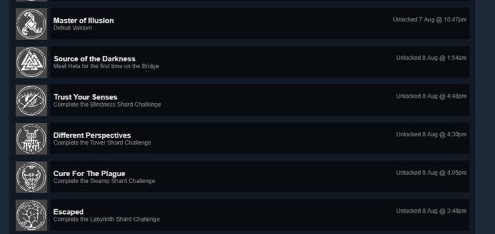 Hellblade Senua's Sacrifice Achievement List