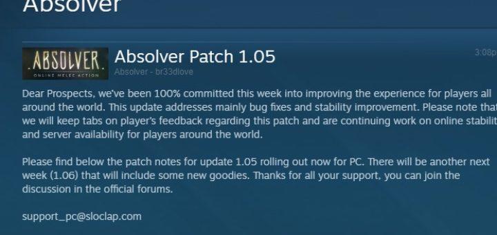 Absolver Update 1.05