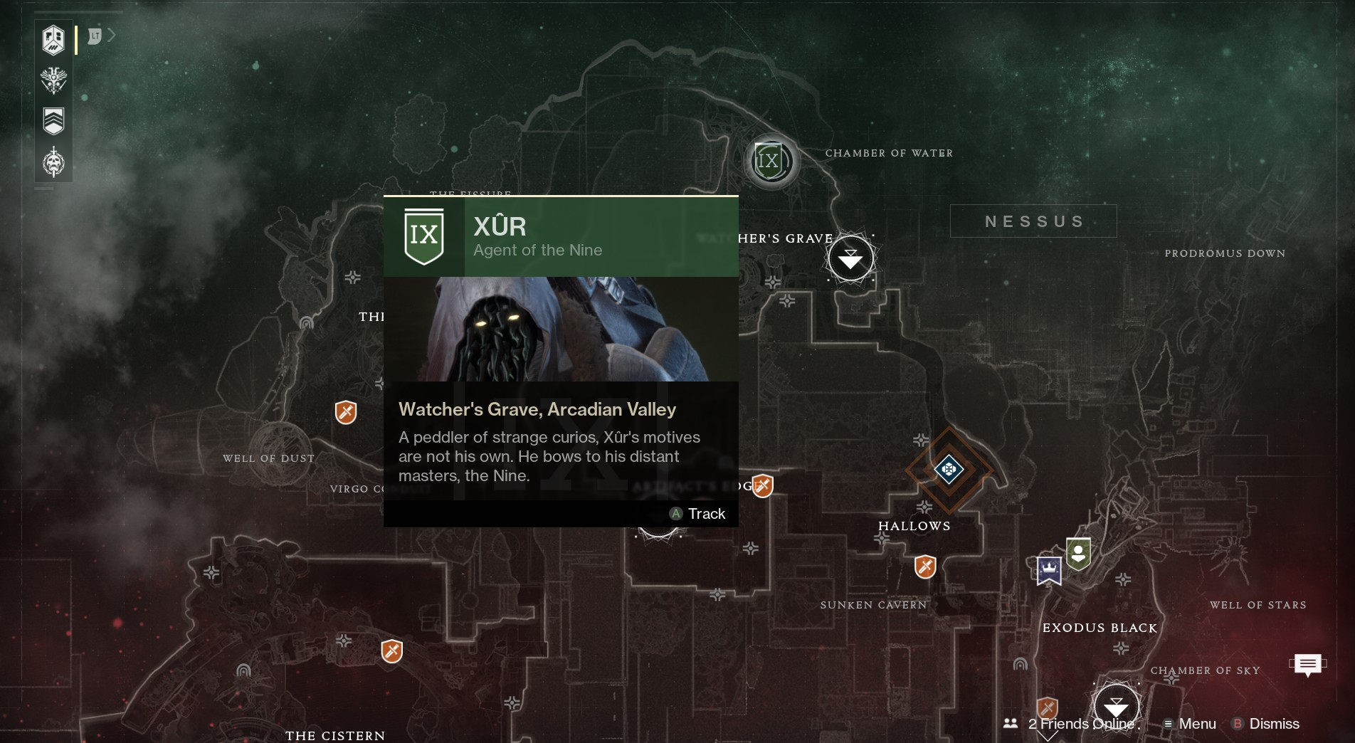 Image showing the location of Xur on Nessus.