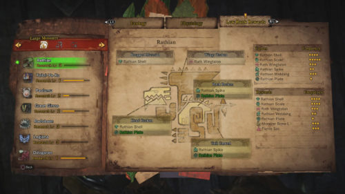 This image shows the Rathian Low Rank Rewards report from the Ecological Center