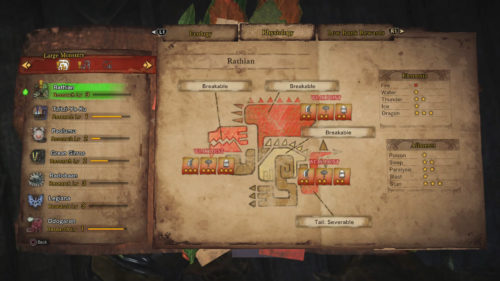 Image of the Rathian Physiology report from the Ecological Research center.
