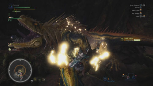 Image shows a Lightning Trap being used on a Great Jargas in Monster Hunter: World