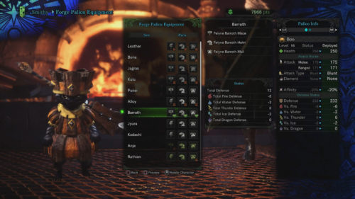 In this image is the Barroth Set on a Palico