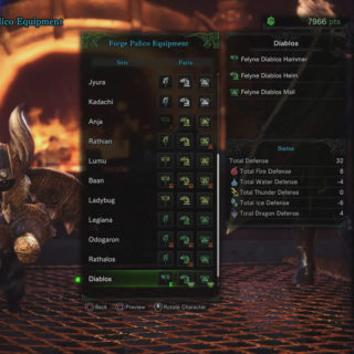 Image of the Diablos Palico Equipment on a palico