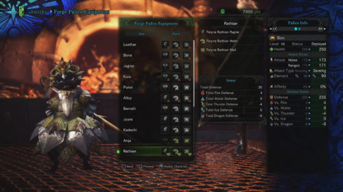 Image of the Rathian Set on a Palico