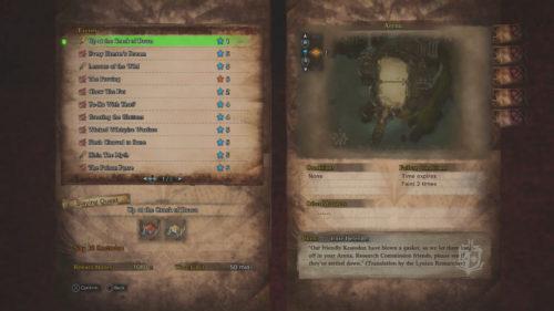 Screenshot of events from Monster Hunter World
