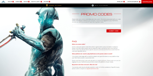 Screenshot of the Promo Codes page on the Warframe website.