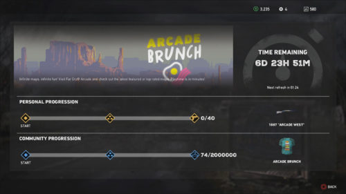 Screenshot of the progression numbers for the Arcade Brunch Live Event in Far Cry 5 - Arcade Brunch Live Event guide
