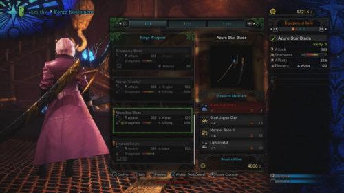 Screenshot of the Azure Star Blade.