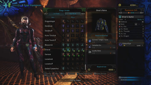 Screenshot of the Diver armor set in Monster Hunter World