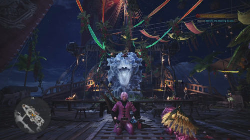 Screenshot of the Ice Rathalos decoration in Monster Hunter World
