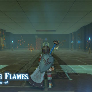 Shae Mo'sah Shrine Guide - Screenshot of the Swinging Flames text in Breath of the Wild for our Shae Mo'sah Shrine Guide