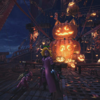 Decorated Gathering Hub for the Autumn Harvest Fest in MHW