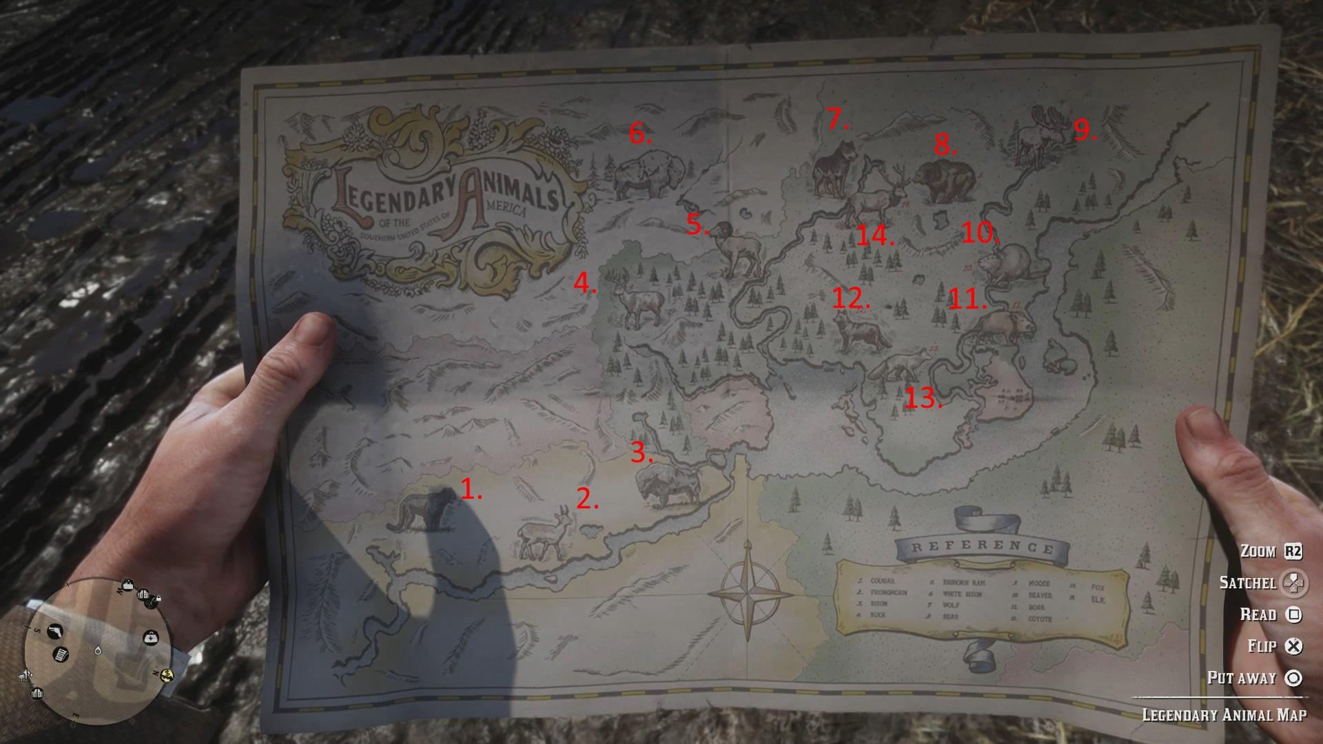 Legendary Animals Map In Red Dead Redemption 2