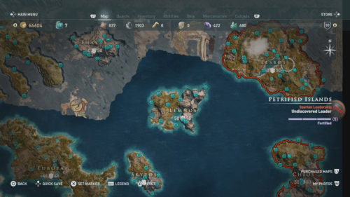 Lesbos Collectibles Locations Map