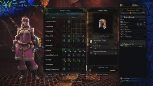 Orion Alpha Set Requirements Monster Hunter World