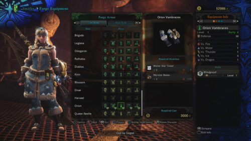 Orion Set Requirements Monster Hunter World