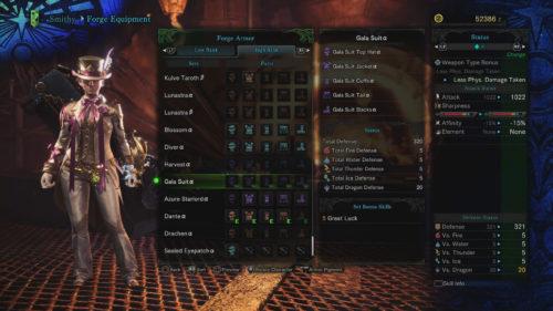 Gala Suit Alpha Set Requirements Monster Hunter World