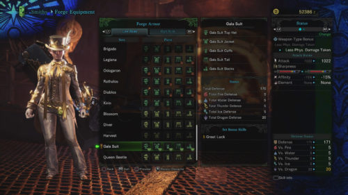Gala Suit Set Requirements Monster Hunter World
