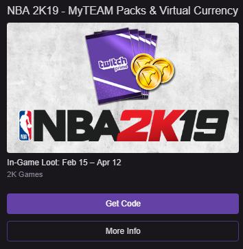 NBA 2K19 Twitch Prime MyTEAM Packs