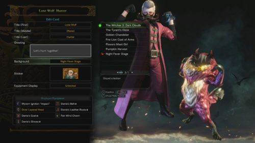 The Witcher 3 Guild Card Monster Hunter World