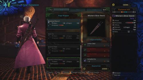 Witcher's Silver Sword in Monster Hunter World