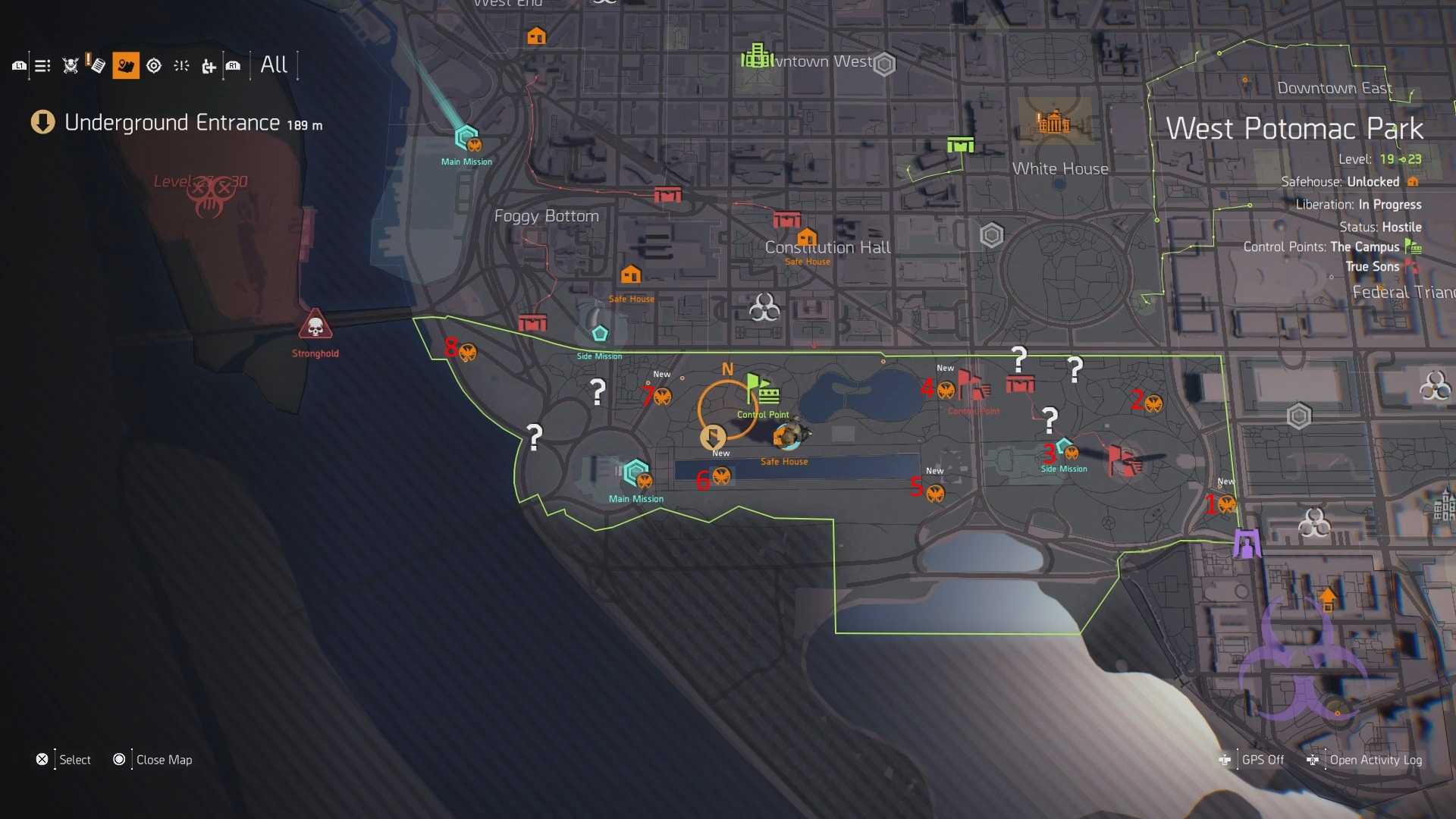 The Division 2 West Potomac Park SHD Tech Cache Locations