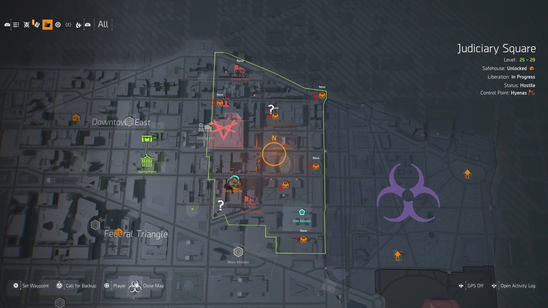 The Division 2 Judiciary Square SHD Tech Cache Locations