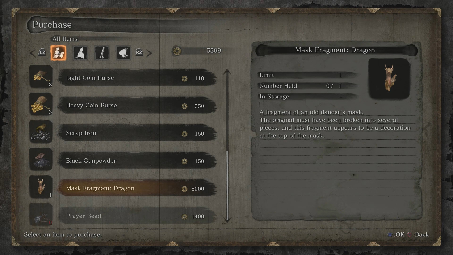 Purchase Mask Fragment Dragon from Dungeon Memorial Mob (5000 sen)