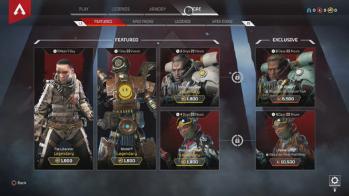 Apex Legends Store Inventory March 4, 2019