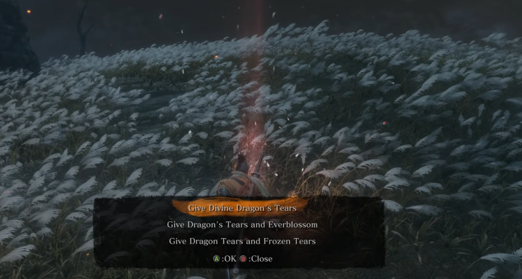 Image showing all three ending choices in Sekiro.