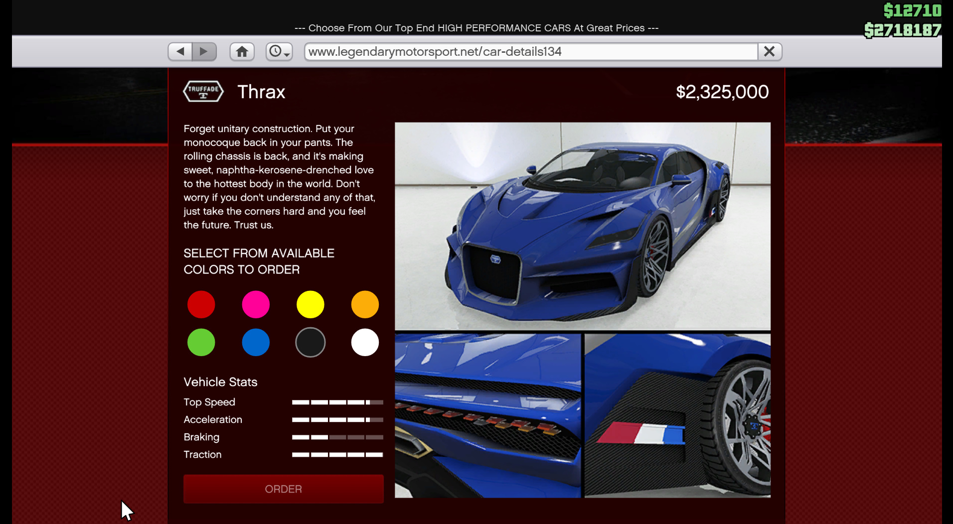Image showing the new Thrax car from the GTA Online casino update.