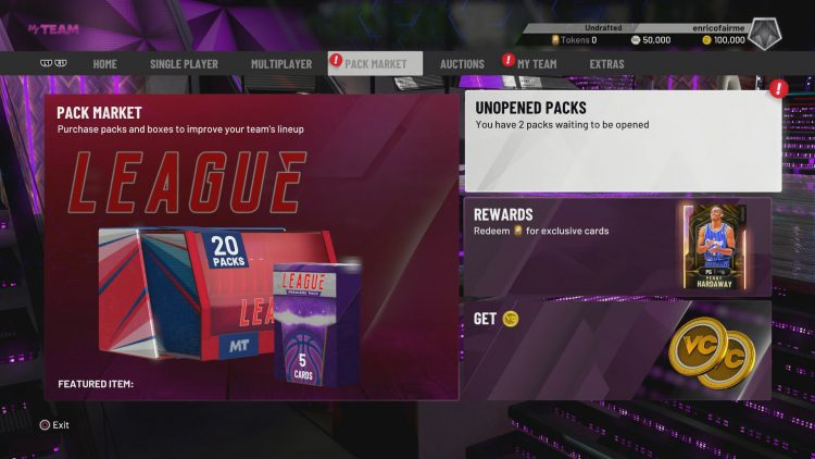 Image showing how to get the MyTEAM card packs.