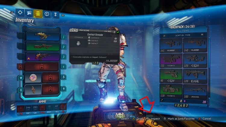 Image showing how to inspect weapons in Borderlands 3.