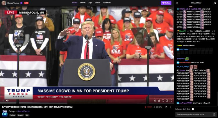 Image showing the first Donald Trump Twitch stream.
