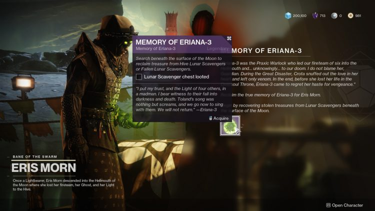 Image showing the Memory of Eriana-3 quest.