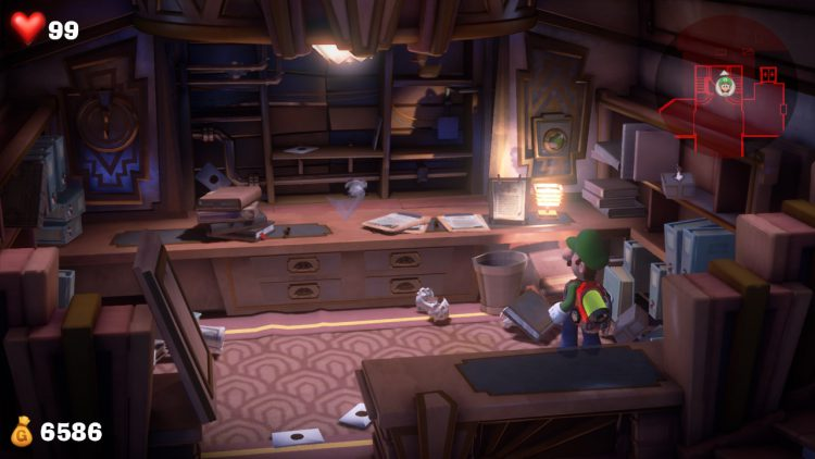 Purple Gem Location Hidden Behind Reception Desk 750x422 - Luigi's Mansion 3 - Guida: come trovare tutte le gemme dei piani 1 e 2