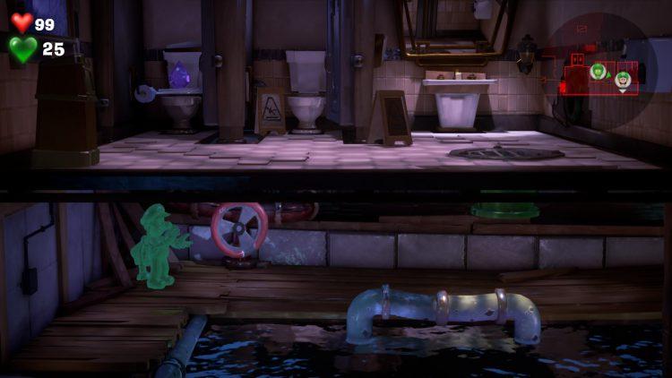 Purple Gem Location Stall in Womens Washroom 750x422 - Luigi's Mansion 3 - Guida: dove trovare tutte le gemme dei piani 3 e 4