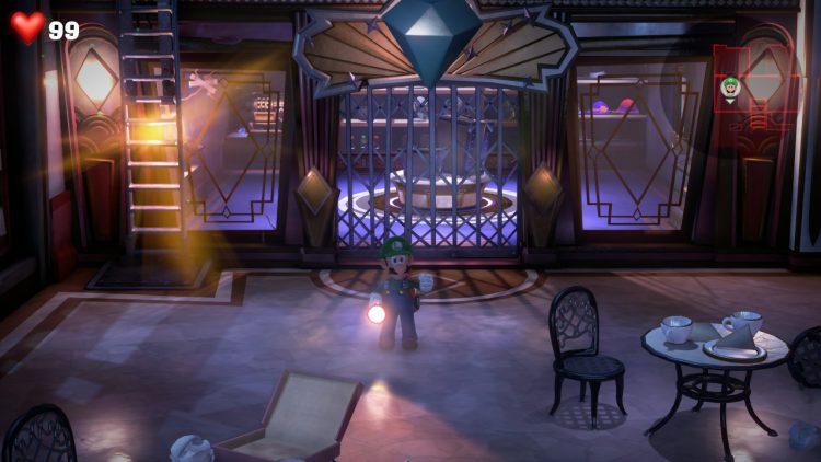 Green Gem Location Catwalk Above Mall Lobby 750x422 - Luigi's Mansion 3 - Guida: dove trovare tutte le gemme dei piani 3 e 4