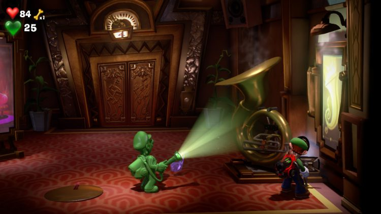 Purple Gem Location Tuba in Elevator Hall 750x422 - Luigi's Mansion 3 - Guida: dove trovare tutte le gemme dei piani 3 e 4