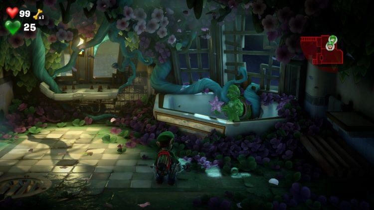 Purple Gem Location Tub in Blooming Bathroom 750x422 - Luigi's Mansion 3 – Guida: dove trovare tutte le gemme dei piani 7 e 8