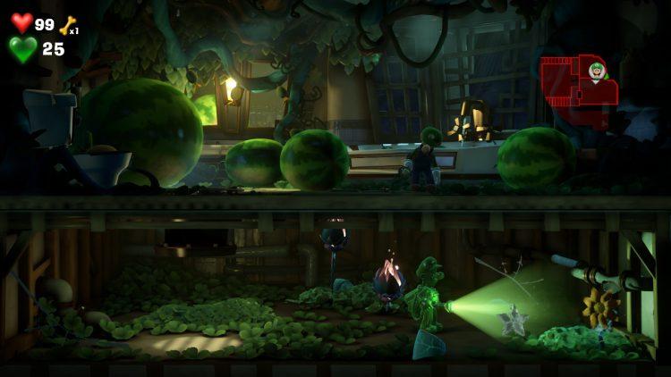 White Gem Location Ivy Bathroom Plant 750x422 - Luigi's Mansion 3 – Guida: dove trovare tutte le gemme dei piani 7 e 8