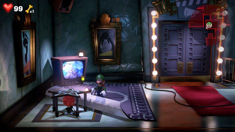 Red Gem Location Beneath Carpet in Studio Entrance 750x422 - Luigi's Mansion 3 – Guida: dove trovare tutte le gemme dei piani 7 e 8
