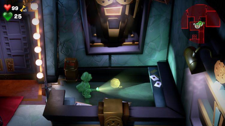 Yellow Gem Location Secret Compartment in Studio Entrance 750x422 - Luigi's Mansion 3 – Guida: dove trovare tutte le gemme dei piani 7 e 8