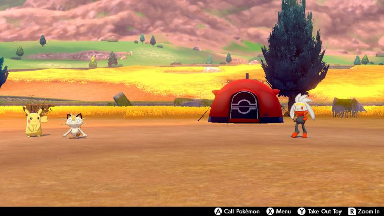 Image showing the camp setup in Pokemon Sword and Pokemon Shield.