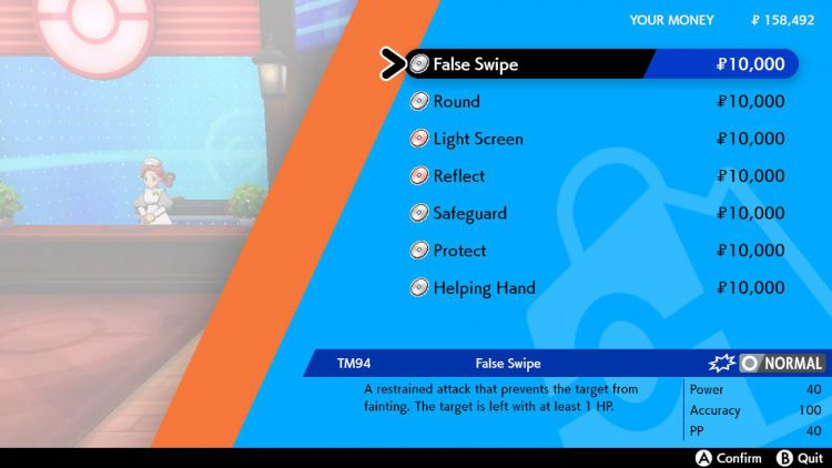 Image showing where to buy False Swipe TM in Pokemon Sword and Pokemon Shield.