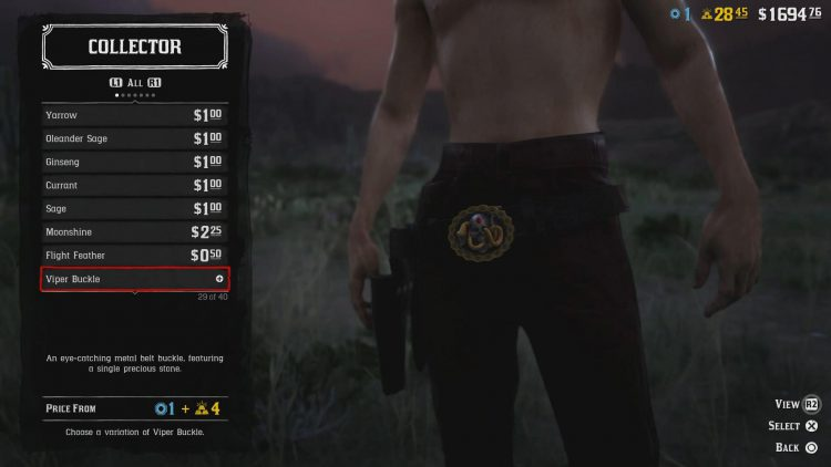 Image showing one of the Belt Buckles Madam Nazar sells in Red Dead Online.