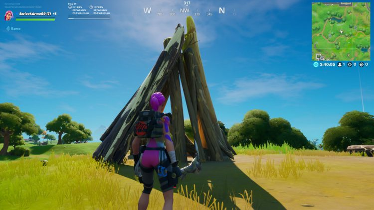 Image showing the location of the Timber Tent in Fortnite.
