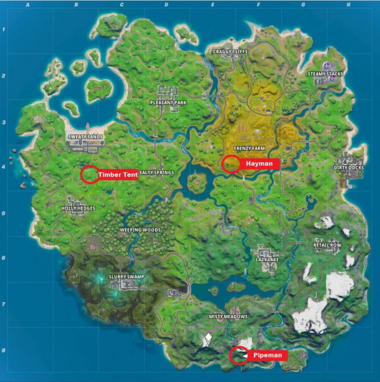 Image showing the Pipeman, Hayman, Timber Tent Map Locations.