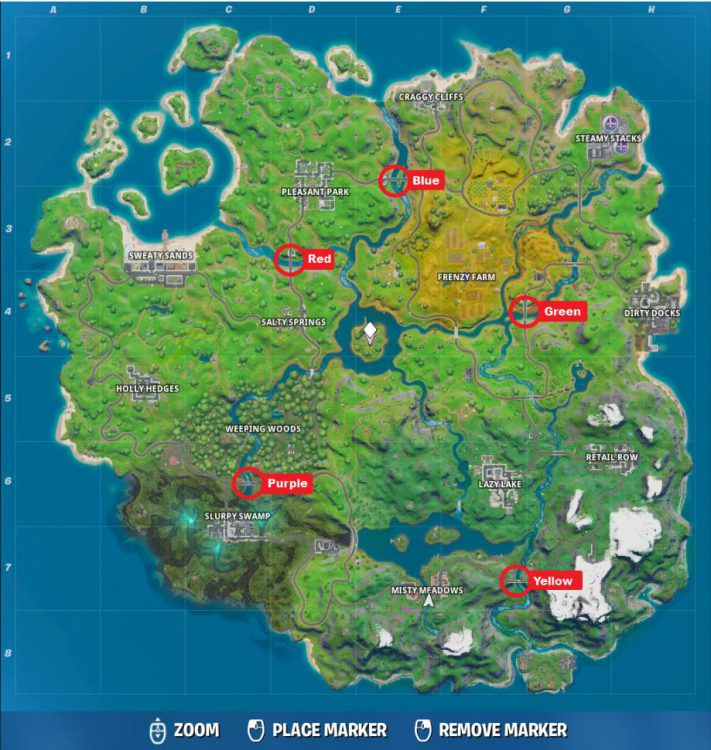 Image showing the Map locations of the colored bridges on the Fortnite Island.